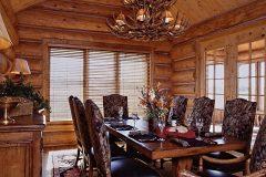 Dool chink style log Laramie Wyoming custom home builder handcrafted details (2) - Deerwood Log Homes - Custom Built Homes and Cabins - Laramie, Wyoming and The Centennial Valley - deer-wood.com - (307) 742-6554