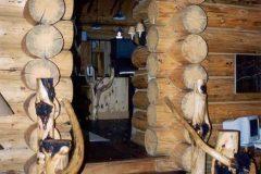Hend chink style log Laramie Wyoming custom home builder handcrafted details (11) - Deerwood Log Homes - Custom Built Homes and Cabins - Laramie, Wyoming and The Centennial Valley - deer-wood.com - (307) 742-6554