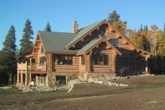 Writ chink style log Steamboat Springs Colorado custom home builder handcrafted details (8) - Deerwood Log Homes - Custom Built Homes and Cabins - Laramie, Wyoming and The Centennial Valley - deer-wood.com - (307) 742-6554