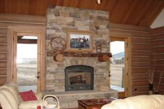 Spec chink style log Big Horn Wyoming custom home builder handcrafted details (4) - Deerwood Log Homes - Custom Built Homes and Cabins - Laramie, Wyoming and The Centennial Valley - deer-wood.com - (307) 742-6554