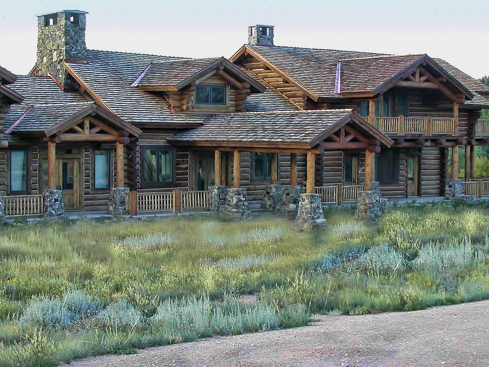 Grein chink style log Centennial Wyoming custom home builder handcrafted details (2) - Deerwood Log Homes - Custom Built Homes and Cabins - Laramie, Wyoming and The Centennial Valley - deer-wood.com - (307) 742-6554